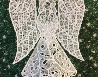 Hope Lace Angel Tree Topper with Gold Halo