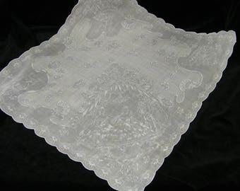"Vintage 70's 17"" Ice Pink Shadowprint Brides Wedding, Pocket Square Handkerchief - 9842"