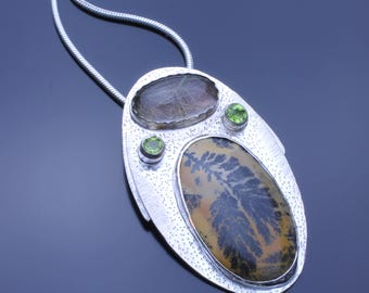 Dendritic Opal, Rutilated Quartz and Faceted Peridot, Professional Silversmithing Jewelry Pendant Necklace