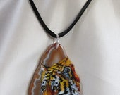 Tiger Hand Painted Art Pendant Miniature Oil Painting on Agate Necklace Sterling Silver Wildlife Cat