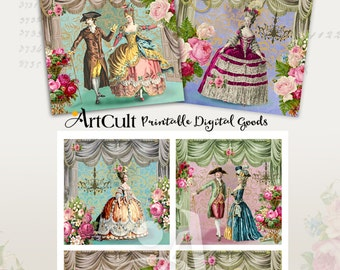 """Printable images for Coasters Digital Download ROYAL THATRE Louis XIV 3.8""""x3.8"""" size Greeting cards, Gift Tags, Collage Sheet by ArtCult"""