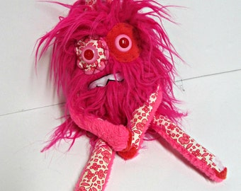 Nervous Monster Plush - Handmade Plush Monster - OOAK Hand Embroidered Monster Doll - Weird Cute Monster Toy - Hot Pink Faux Fur Monster Toy