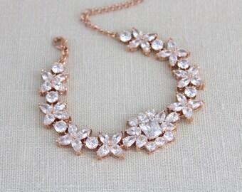Rose Gold bracelet, Bridal bracelet, Wedding jewelry, Crystal bracelet, Crystal Wedding bracelet, Cuff bracelet, Statement bracelet, CHLOE
