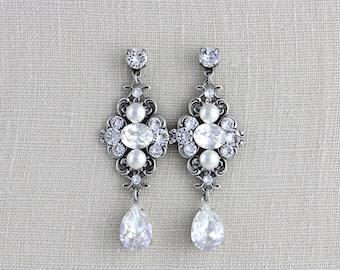 Crystal bridal earrings, Bridal jewelry, Wedding earrings, Swarovski earrings, Chandelier earrings, Crystal earrings, Vintage style  ASHLYN