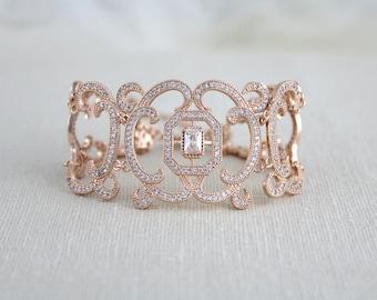 Rose gold bracelet, Bridal bracelet, Bridal jewelry, Cuff bracelet, Filigree bracelet, Swarovski bracelet, Statement bracelet, Wedding gift