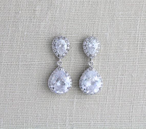 Crystal Bridal earrings, Wedding earrings, Wedding jewelry, Crystal drop earrings, Teardrop earrings, Bridesmaid earrings Rose gold earrings