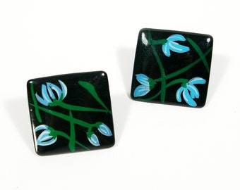 Vintage Square Earrings, 1980s Floral Hand Painted Wood Earrings, Painted Square Black and Blue Flowers Post Pierced Earrings