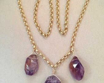 Violet Plume -- Amethyst Nuggets Long Statement Necklace