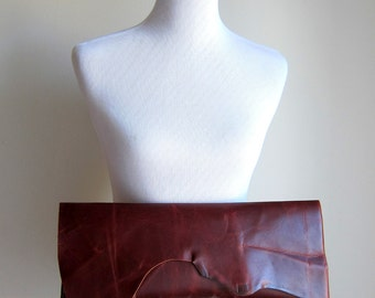 LEATHER Large Oversized Huge Clutch Bag Purse Shoulder Strap Cross Body - Raw, Rustic w/ Raw Edge & Fringe - Beautiful Leather