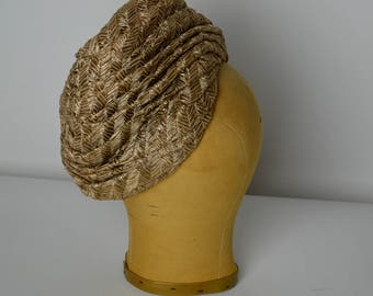 Vintage Hat, 50s Hat, Turban Hat, Bronze Hat, Brown Hat, Raffia Hat, 60s Hat, Spring Hat, Summer Hat, Turban Style Hat, Slouchy Hat
