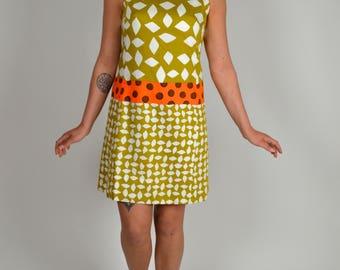 Vintage Dress, Shift Dress, Sheath Dress, Novelty Pattern Dress,60s Dress, Cotton Dress, 1960s Dress, Spring Dress, Summer Dress