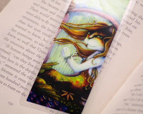 Mermaid Cat Bookmark, Under the Sea Nautical MerCat Art Bookmark