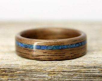 Wood Wedding Band - Walnut Wooden Ring with Offset Lapis Lazuli and Chrysocolla Inlay - Handcrafted Wood Wedding Ring - Custom Made