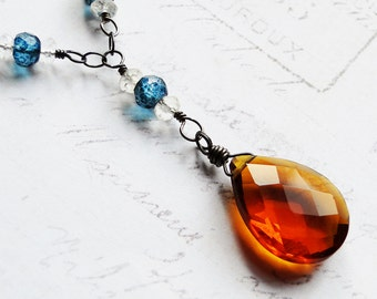 Madeira Quartz Necklace with London Blue Topaz on Oxidized Sterling Silver - Autumn Sky by CircesHouse on Etsy