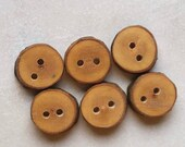 Handmade Wooden Tree Branch Buttons from AskCheese, Rustic Natural Buttons, Apple Wood, Set of 6, 9/16 Inch