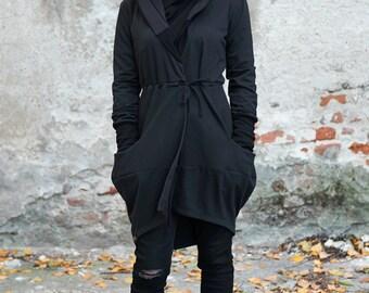 Kimono Cardigan, Gothic Jacket, Goth Clothing, Steampunk Jacket, Black Cardigan, Big Hood Hoodies, Black Jacket, Plus Size Cardigan