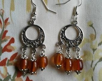 Bakelite Chandelier Earrings - Amber 1