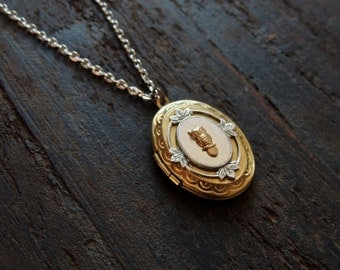 Owl locket // brass owl necklace