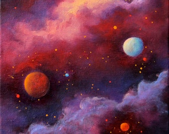 Outer Space Art Print Poster, Space Art Print Poster, Full Moon, Stars, Fiery Galaxy,