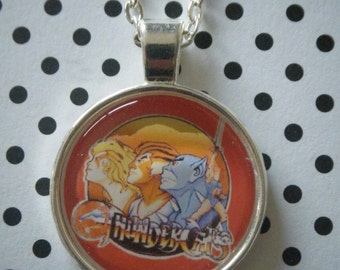 Thundercats retro cartoon round silver pendant necklace