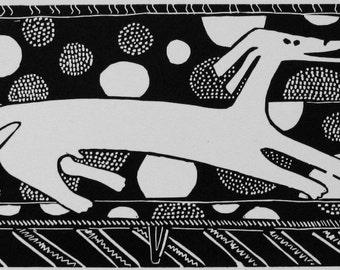 Marimekko linoleum print Dogs on Sofas series