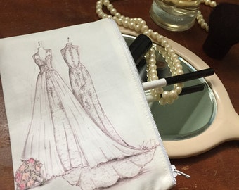 Cosmetic/Jewelry Bag with Bridal Illustration