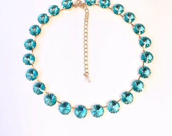 14mm Light Turquoise Swarovski in Rose Gold Crystal Rivoli Rhinestone Necklace, Anna Wintour, Big Stones Necklace, Swarovski Crystal