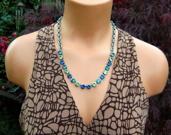 Swarovski Capri Blue Peridot Glacier Blue Blue Zircon, 1/2 Necklace, Layering Necklace, Rhinestone Necklace, Gifts For Her, Antique Silver