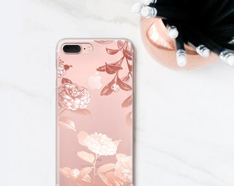 Rose Floral iPhone 7 Case Clear, iPhone 7 Plus Case Roses iPhone 6S, Plus, iPhone X, 8 Case Flower Gift for Her, Women