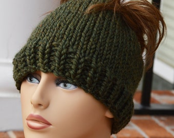 Knit Ponytail Hat - Knit Beanie Ponytail Hat - Knit Beanie Ponytail Hat Dark Green