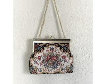 Vintage Floral Tapestry Purse Handbag with Gold Tone Chain Handle
