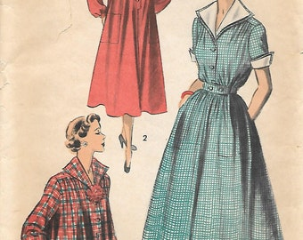 Advance 5561 1950s Coat Dress or Smock Vintage Sewing Pattern Size 12 Bust 30 Car Coat Maternity Jacket Rockabilly