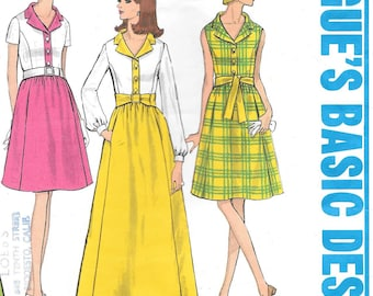Vogue 1942 1960s A-Line Shirtdress Hostess Gown and Day Dress Vintage Sewing Pattern Size 12 Bust 34