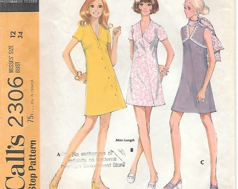 McCalls 2306 1970s Assymetrical Sleeveless V-neck Dress Vintage Sewing Pattern Size 12 Bust 34 A-line Dress