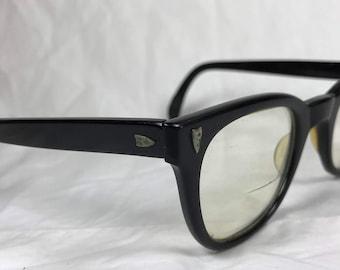 1950s USA Black Horn Rim Eyeglasses with Silver Hinge Detail