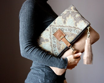 Beige leather clutch, Tapestry Crossbody leather bag, Carpet Leather handbag, boho bag , foldover clutch, crossbody bag , neutral shades