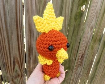 READY TO SHIP - Crochet - Chibi Pokemon Amigurumi - Torchic. Pokemon Plush. Gamer Gift. Hoenn Starter Pokemon. Fire Pokemon. Blaziken. Ruby.
