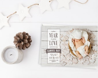 Holiday Card, Newborn, Photo Holiday Card, New Baby, Birth Announcement, Happy New Year, New Year Card, Gender Neutral