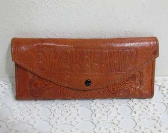 Wallet Hand Tooled Leather Coins Mirror Picture Holders