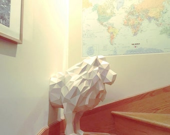 Lion papercraft. You get a PDF digital file templates and instructions for this DIY (do it yourself) modern paper sculpture.