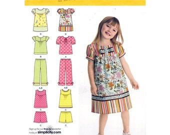 Girls Sewing Pattern Dress or Top Puff Sleeve, Capri Pants, Shorts Simplicity 2628 Sleeveless Sundress Summer Wear Girls Size 3 to 8 UNCUT