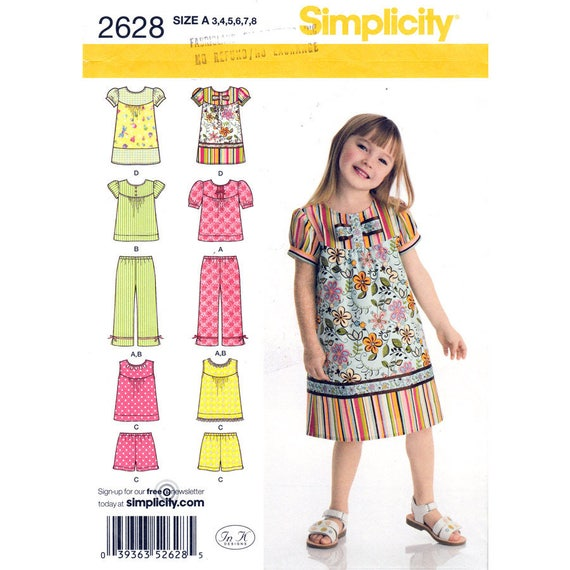 Girls Dress or Top Puff Sleeve, Capri Pants, Shorts Simplicity 2628 Sundress Size 3 to 8