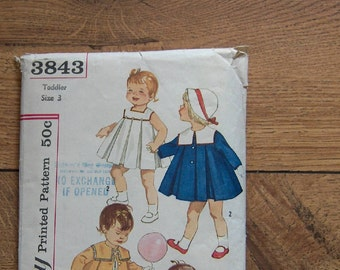 vintage simplicity pattern 3843 toddler  dress and coat with detachable collar pleats  sz 3 dress and coat pleated into yoke