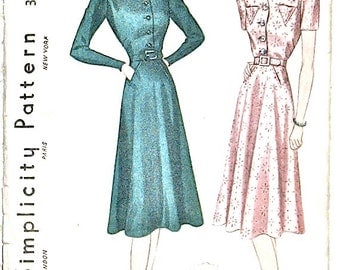 1930s Dress Pattern Misses' Dress Simplicity 2691 Vintage Sewing Pattern  Women's Dress  Bust 32 inches.