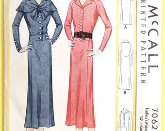 1920s Dress Pattern McCall 7062 Vintage Sewing Pattern Bust 34 Hip 37