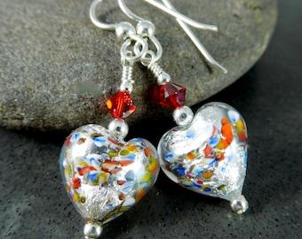 Colorful Small Heart Dangle Earrings, Valentine's Day Earrings, Silver Foil Murano Earrings, Romantic Earrings, Valentine for Her Under 20