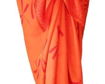 Dragonfly Beach Sarong Skirt Swimsuit Cover Up - Women's Clothing Beach Skirt Batik Pareo - Long Orange & Red Wrap Skirt Fantasy Beachwear