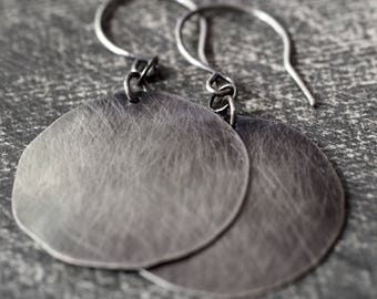 Large 100% handmade and hand hammered fine silver disc earrings