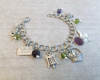 Christmas in July Sale Wine Lovers Charm Bracelet, Purple, Green