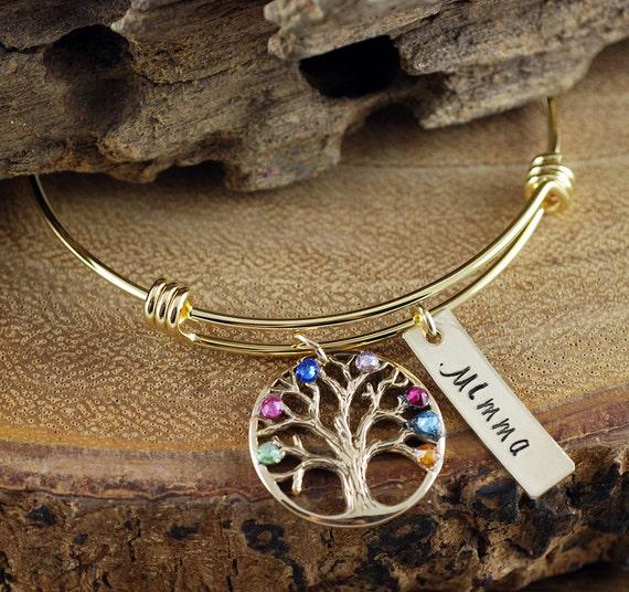 Hand Stamped Tree of Life Bracelet, Grandma Family Tree Bracelet, Gold Tree of Life Bangle Bracelet, Birthstone Charm Bracelet